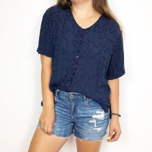 VINTAGE | Navy Embroidered Button Down Blouse